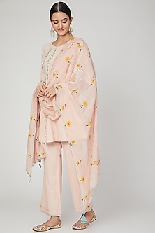 Blush Pink Embroidered Kurta Set by The Right Cut