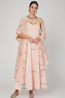 Blush Pink Embroidered Anarkali Set by The Right Cut
