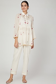 Ivory Printed Shirt With Pants by The Right Cut