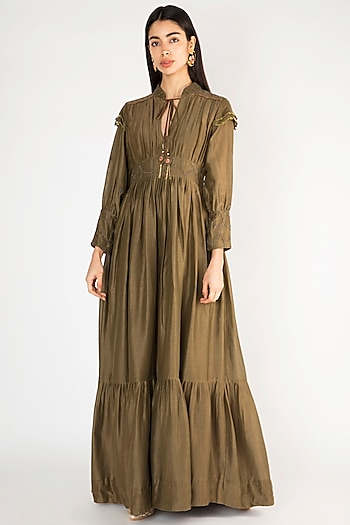 Military Green Zardosi Embroidered Gown by The Right Cut