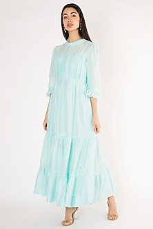 Ice Blue Embroidered Tiered Gown by The Right Cut