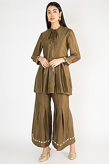 Military Green Embroidered Co-Ord Set by The Right Cut