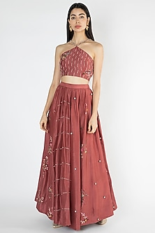 Brick Red Embroidered Halter Neck Blouse With Skirt by The Right Cut