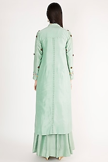 Turquoise Embroidered Jacket Kurta Set by The Right Cut