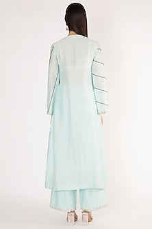 Ice Blue Embroidered Kurta With Pants by The Right Cut