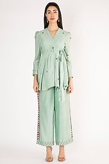 Turquoise Embroidered Co-Ord Set by The Right Cut