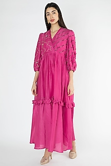 Fuchsia Embroidered Gathered Dress by The Right Cut