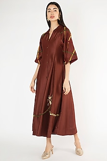 Wine Embroidered Kalidar Dress by The Right Cut