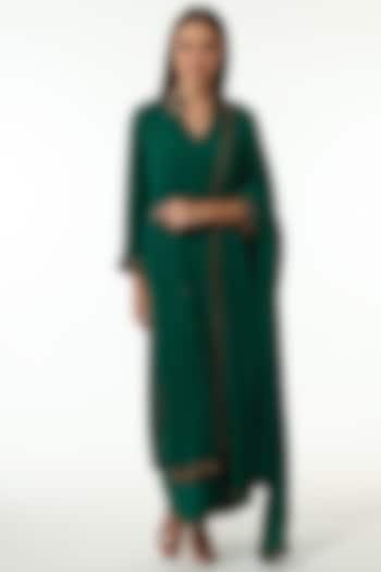Green Embroidered Kurta Set by Trisvaraa