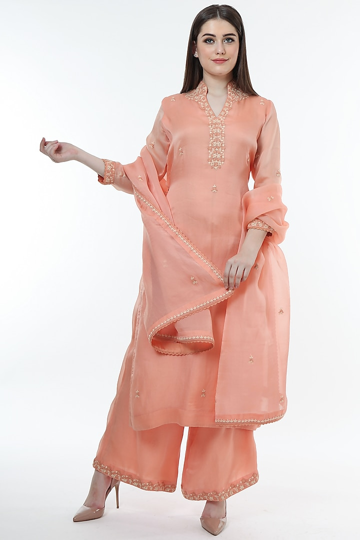 Bright Peach Embroidered Kurta Set by Trisvaraa