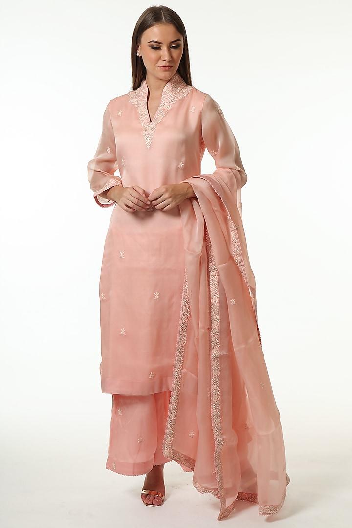 Baby Pink Embroidered Kurta Set by Trisvaraa