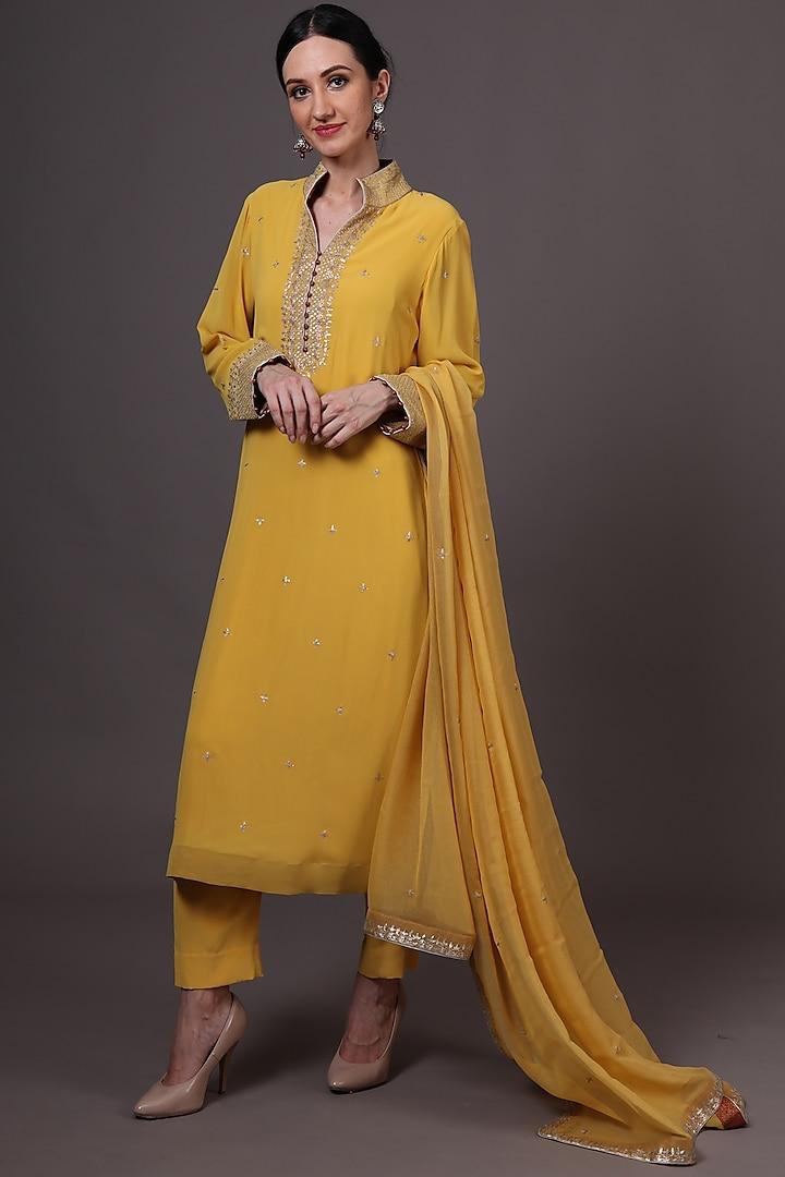 Yellow Embroidered Kurta Set by Trisvaraa
