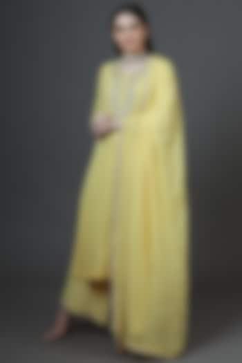 Yellow Dabka Embroidered Kurta Set by Trisvaraa