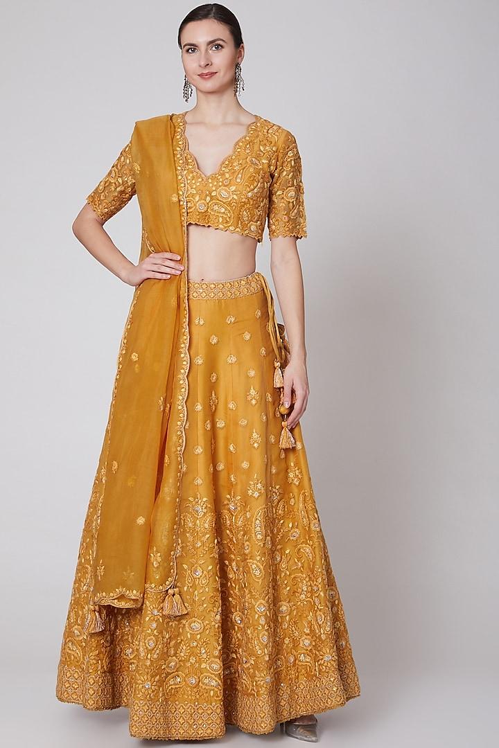 Mango Yellow Embroidered Lehenga Set by Trisvaraa