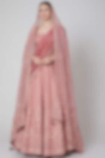 Blush Pink Embroidered Silk Lehenga Set by Trisvaraa