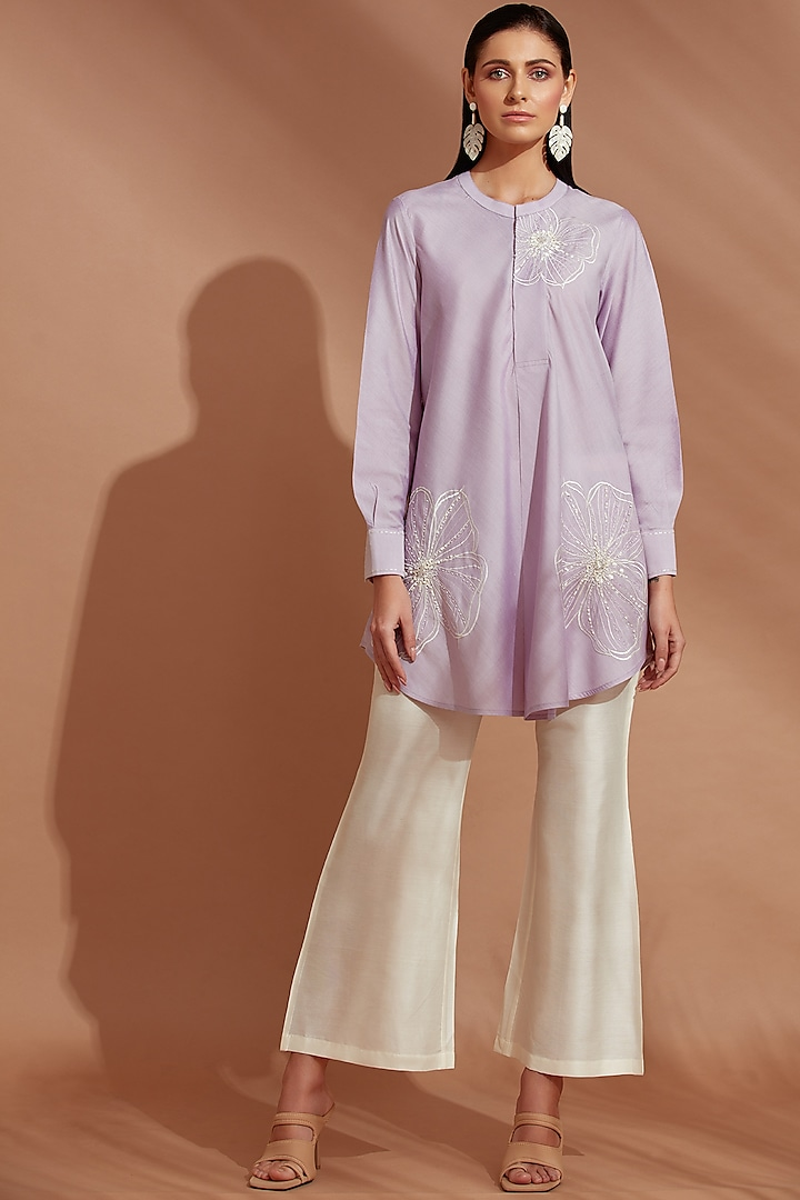 Light Purple Hand Embroidered Tunic Set by Trumpet Vine