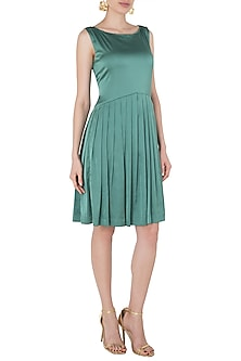 Olive Green Knee Length Flare Dress by Tara and I