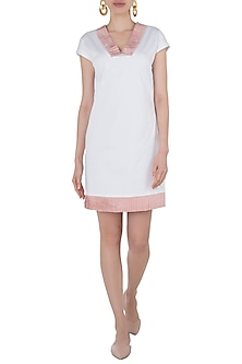 White Trimmed Pleats Dress by Tara and I