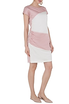 Cream and Pink Ruched Color Block Dress by Tara and I