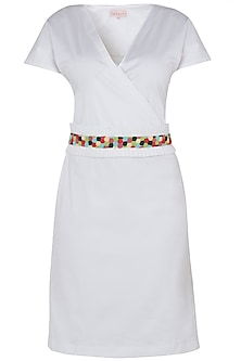 White Knee Length Wrap Dress with Multi Color Beaded Belt by Tara and I