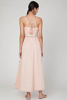 Blush Pink Embroidered Kalidar Dress by The Right Cut