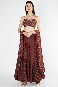 Wine Embroidered Lehenga Set by The Right Cut