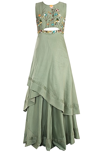 Olive Asymmetrical Embroidered Gown by The Right Cut