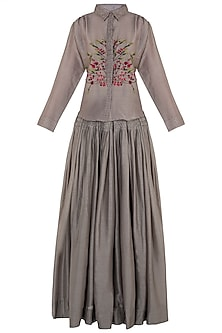 Taupe Embroidered Shirt with Pleated Skirt by The Right Cut