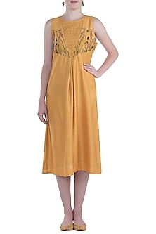 Mustard Pleated Embroidered Tunic by The Right Cut
