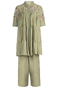Olive Embroidered Shirt with Trousers by The Right Cut