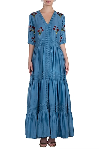 Navy Blue Pintuck Embroidered Gown by The Right Cut