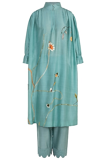 Mint Embroidered Kurta with Trousers by The Right Cut