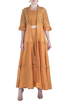 Mustard Pintuck Embroidered Cape with Crop Top and Pants by The Right Cut