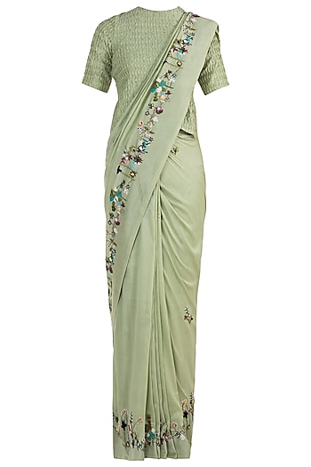 Olive Embroidered Saree with Unstitched Blouse by The Right Cut