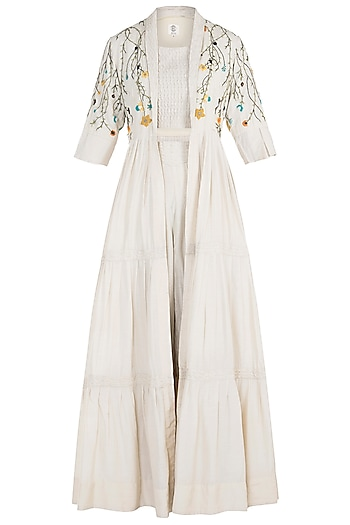 Ivory Pintuck Embroidered Cape with Crop Top and Pants by The Right Cut