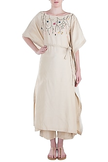 Ivory Pintuck Embroidered Kaftan with Trousers and Belt by The Right Cut