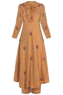 Mustard Pintuck Embroidered Kurta with Trousers by The Right Cut