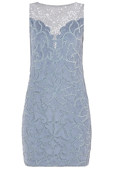 Greyish Blue Embroidered Dress by Trish by Trisha Datwani