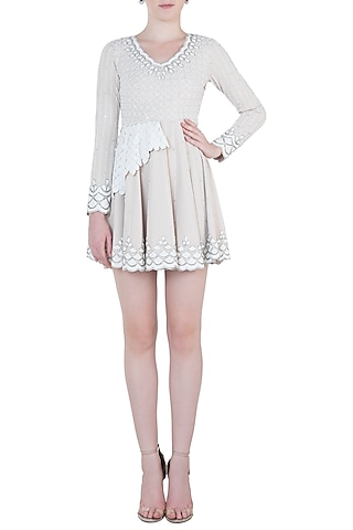 Nude and White Embroidered Dress by Trish by Trisha Datwani