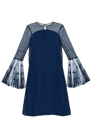 Dark Blue Pleated Embroidered Dress by Trish by Trisha Datwani