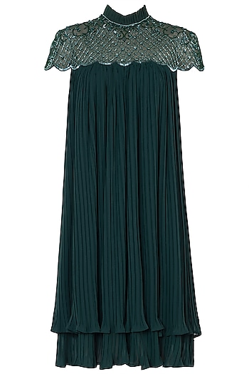 Emerald Green Embroidered Dress by Trish by Trisha Datwani