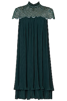 Emerald Green Embroidered Dress by Trish by Trisha Datwani