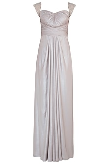 Silver Shimmer Embroidered Gown by Trish by Trisha Datwani