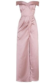 Pink off shoulder gown by Trish by Trisha Datwani