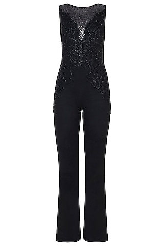 Black Embroidered Jumpsuit by Trish by Trisha Datwani