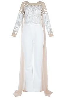 White Embroidered Jumpsuit by Trish by Trisha Datwani