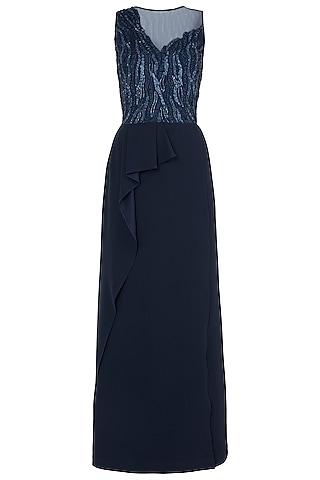 Dark Blue Embroidered Jumpsuit by Trish by Trisha Datwani
