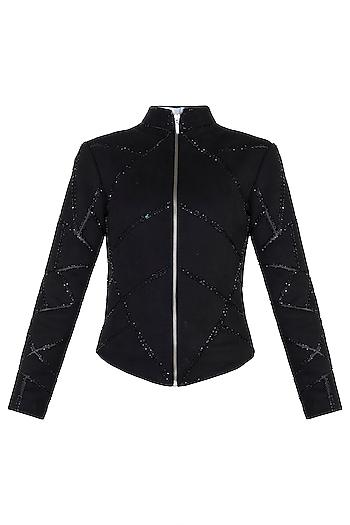 Black Embroidered Jacket by Trish by Trisha Datwani