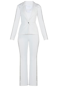 White Embroidered Suit with Pants by Trish by Trisha Datwani