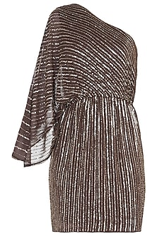 Brown and Gold Embroidered Dress by Trish by Trisha Datwani